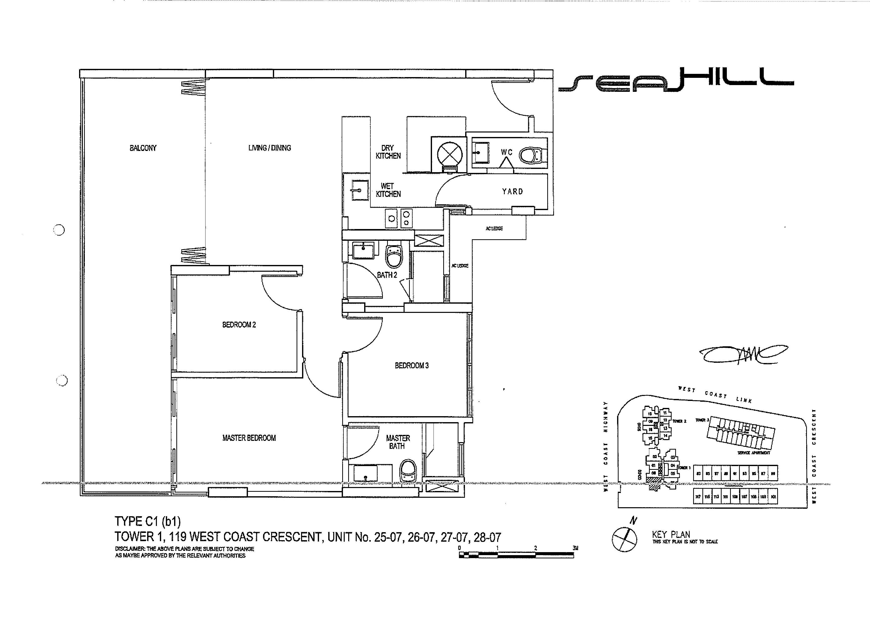 condo 3 bed compact seahill. Black Bedroom Furniture Sets. Home Design Ideas